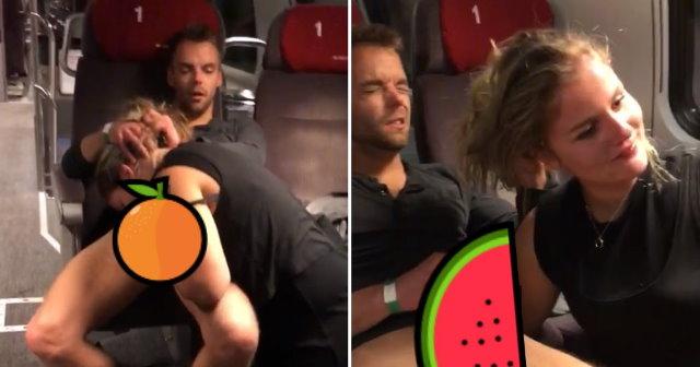 【影片】外國情侶「車廂裡吃吃」!男子遭抓包「一臉母湯」表情超有戲!