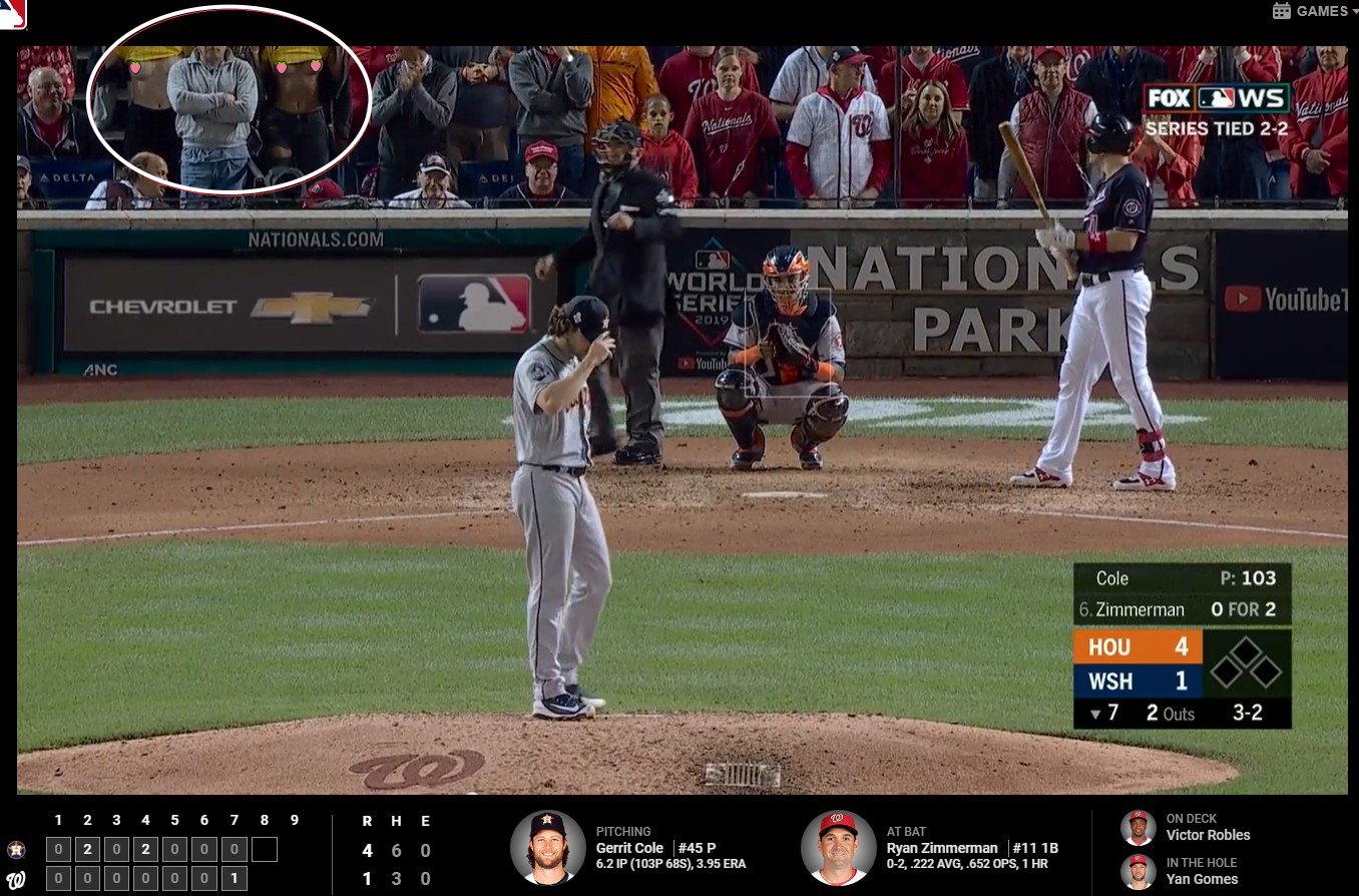 【影片】MLB世界大賽《國民2正妹上空晃奶》,原來是IG百萬網紅!