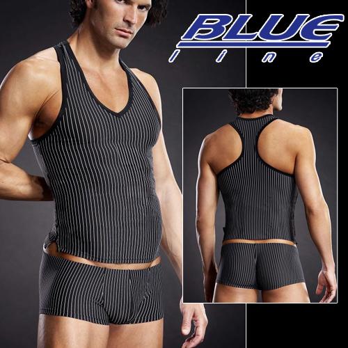 美國Blue Line-競技猛男V領挖背背心-條紋款 L/XL BLM006-適合亞洲男性尺寸