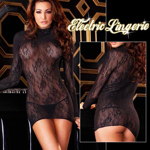 美國Electric-高貴奢華!高領長袖款刺繡蕾絲貓裝-性感黑EH509