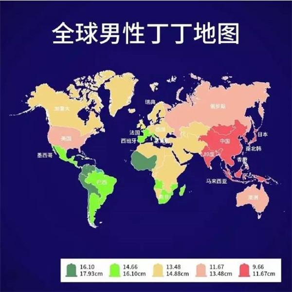 一張圖看懂全球男人丁丁大小!你的丁丁還正常嗎?