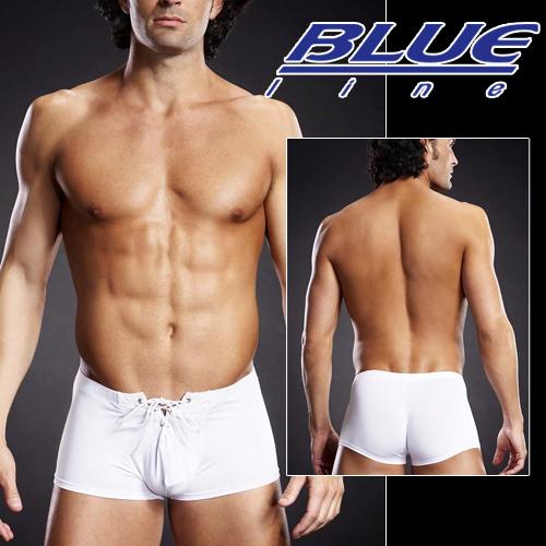 美國Blue Line-潮男綁帶平口褲-潮流白 L/XL BLM004-適合亞洲男性尺寸